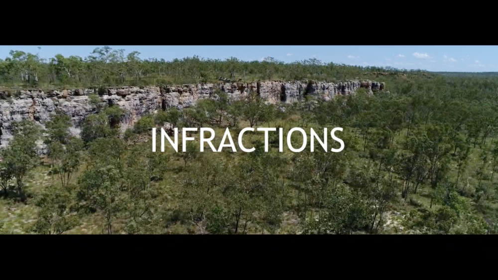 Video Still, *INFRACTIONS*, 2019, 1:03:00, HD video, split screen with text, Dolby 5.1