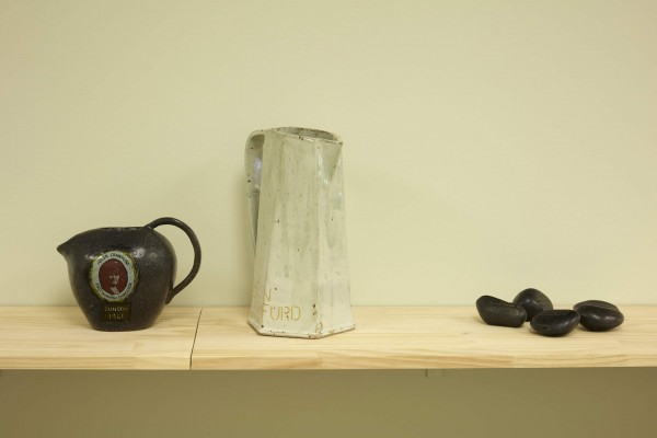 *Fiona Jack: Riverbed*, 2018  3.23 *Traces: First woman Councillor of Dunoon*, Fiona Jack with Jim Jack, glazed stoneware jug, 2017. 3.24 *Traces: Feminist*, Fiona Jack with Adele Patrick, glazed stoneware pitcher, 2017. 3.25 *Traces: In the hands of the proletariat*, Fiona Jack, black angel polished cobbles, individually laser engraved by Alice at Flux Laser Studio, Whisky Bond, Glasgow, 2018.  Image: Sam Hartnett 2018