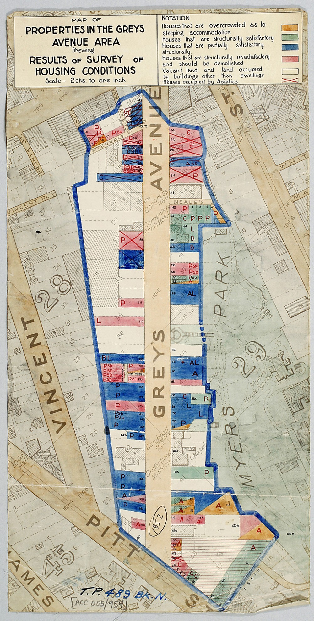 Auckland City Council Town Planning Maps with T. P. [Town Planning] Numbers MAP OF PROPERTIES IN THE GREYS AVENUE AREA SHOWING RESULTS OF SURVEY OF HOUSING CONDITIONS 1952 / 1935 Archives' reference: ACC 005/954