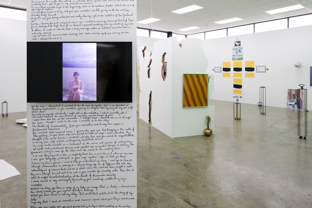 Faith Wilson *all that was left was hope* video, 03:09mins 2016  *Open Letter to Simon Denny* hand written text 2016  Mark Schroder *There are too many white men in this world / The victims all had one thing in common* 2016  Hannah Valentine [and throughout main gallery] *Actionadaptation* cast bronze, steel, foam, furniture castors and FilmPro Digital Green acrylic 2016  Yllwbro *Flowers of the Field* mixed media, courtesy of the artists and Mokopōpaki, Auckland 2016