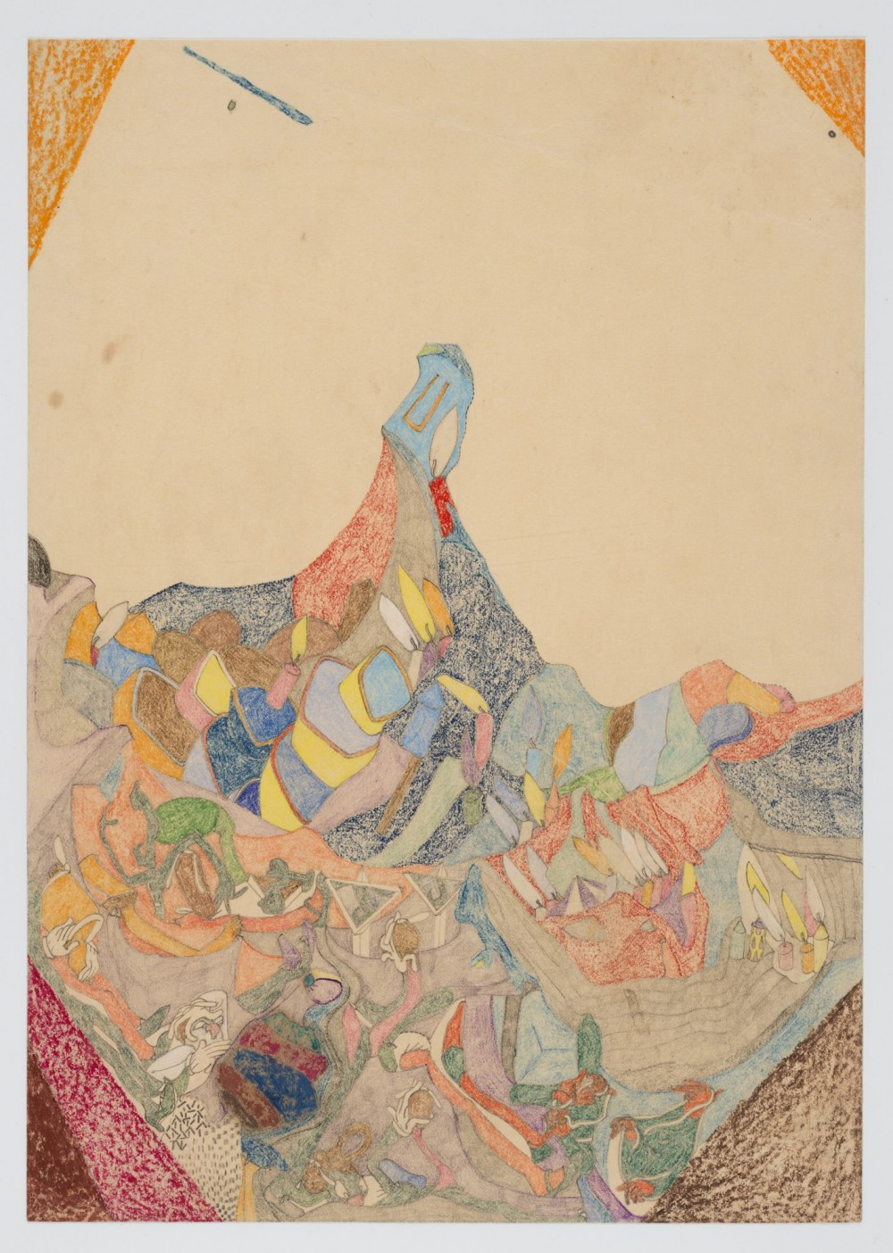Susan Te Kahurangi King, *Paperdwellers*, 2018  18. *Untitled*, Susan Te Kahurangi King, graphite, coloured pencil and crayon on paper, c.1975 – c. 1980.   Image: Courtesy of private collection, 2018