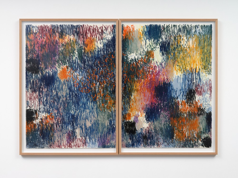 Sarah Smuts-Kennedy *Joy Field (July 2021), Sunstudio* 2021 pigment pastel on cotton rag  1150 x 830 mm (left) 1150 x 830 mm (right)  Courtesy of the artist and Sophie Gannon Gallery, Naarm Melbourne / *When*, 18 – 28 August, 2021, Artspace Aotearoa. Image: Sam Hartnett, 2021.