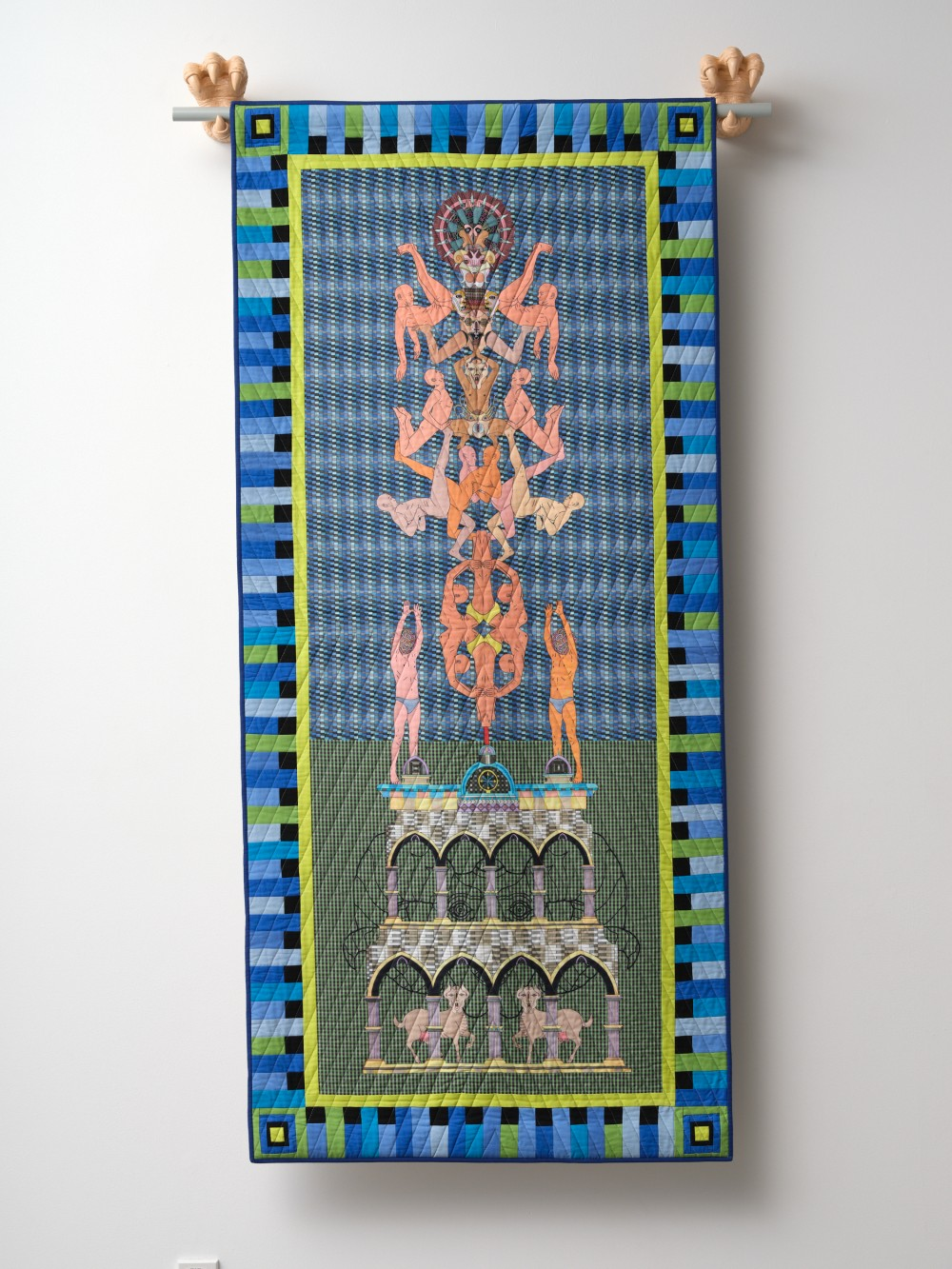 Jess Johnson in collaboration with Cynthia Johnson *Flesh Totem Double Arches* 2018 digital print on cotton with pieced fabric border, painted cast resin, wooden dowel 1950 x 890 mm Courtesy of the artist and Ivan Anthony Gallery, Tāmaki Makaurau Auckland  / *When*, 18 – 28 August, 2021, Artspace Aotearoa. Image: Sam Hartnett, 2021.